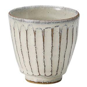 信楽焼 へちもん 湯呑 約230ml 白釉彫 MR-3-3506