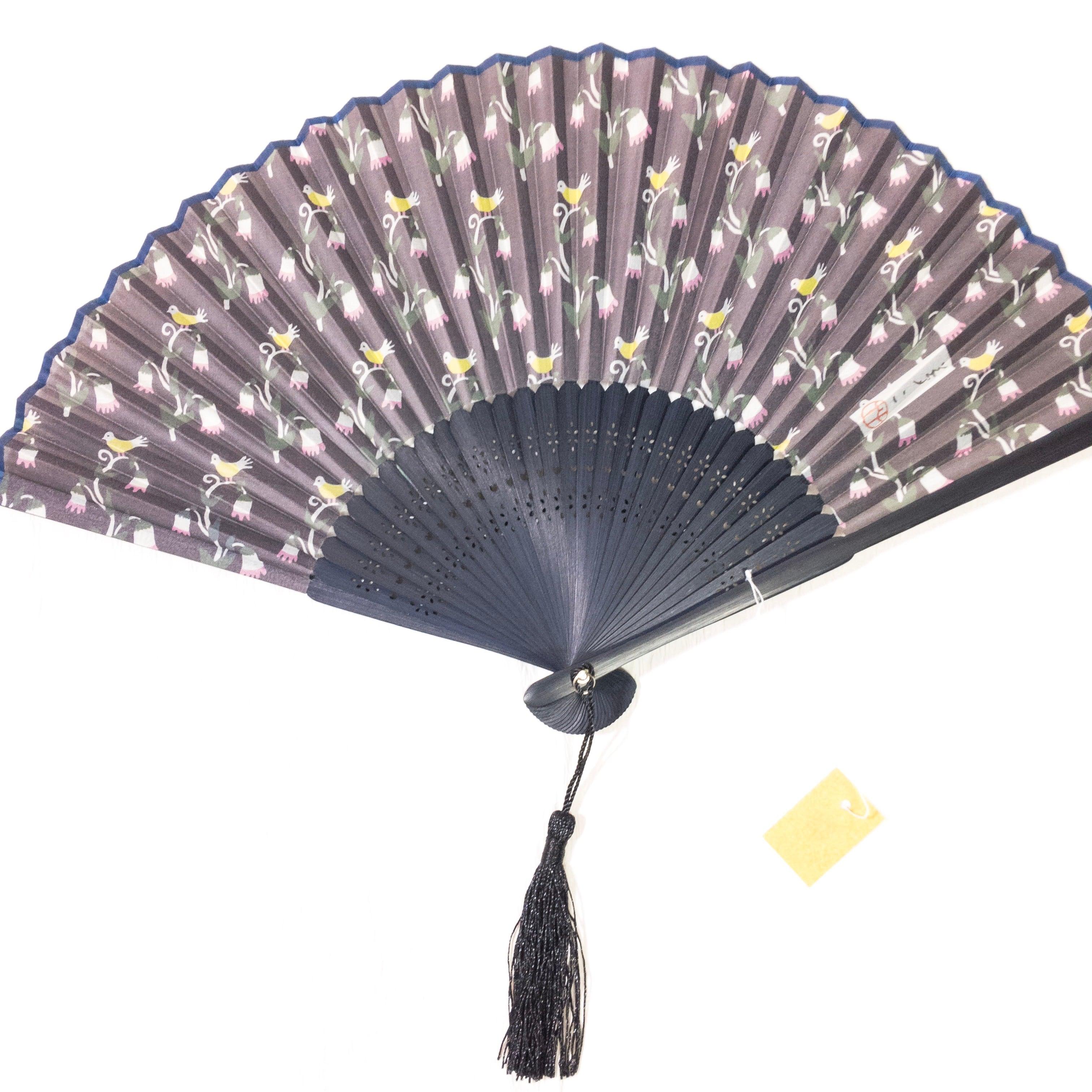シルク扇子 アウトレット新品★竹久夢二  鳥と蔓花 ブラック 銘入