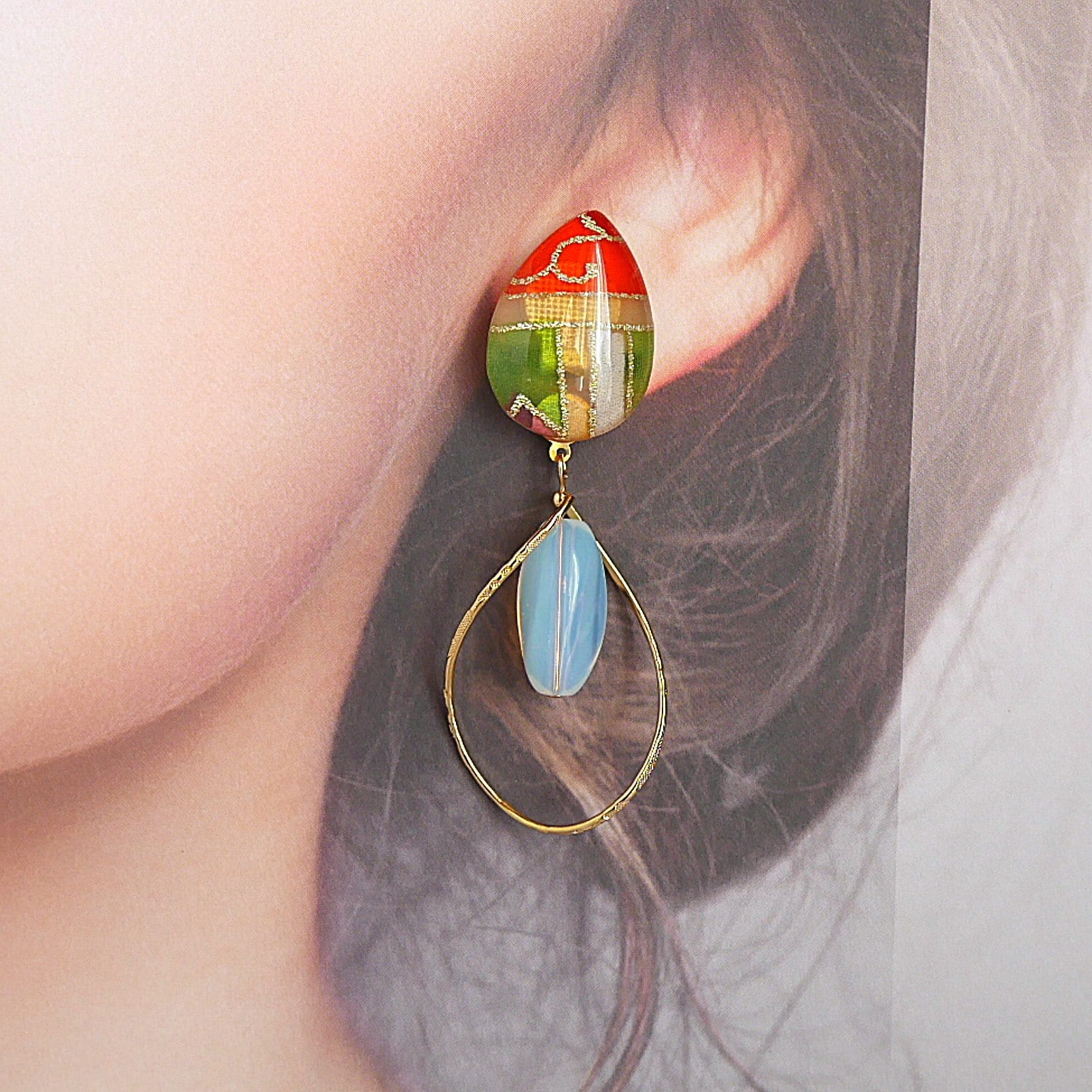 """ Earrings NO.0-1959″カラフル着物とミルキークオーツ"