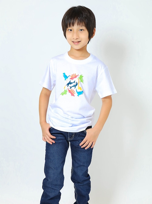 恐竜プリントTシャツ(子供用・恐竜パラダイス)ホワイト【KT-MO】