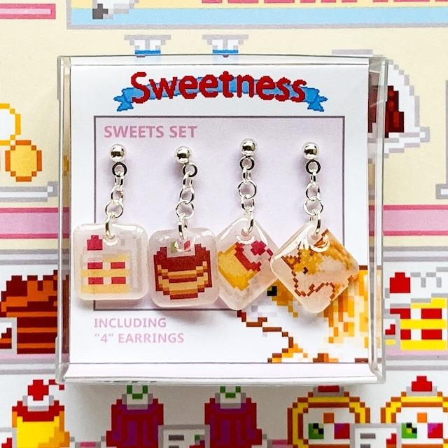 プラバン ケーキ ドット絵 Sweetness ピアス 4点セット