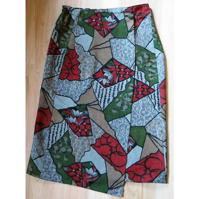 秋の色いろいろラップスカート【受注制作】-綿着物(古布)から