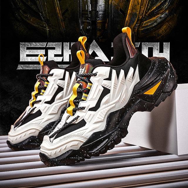 【潮董シリーズ】★スニーカー★ 3color ベージュor黒or黄 メンズ 靴 シューズ 大きいサイズ ファッション