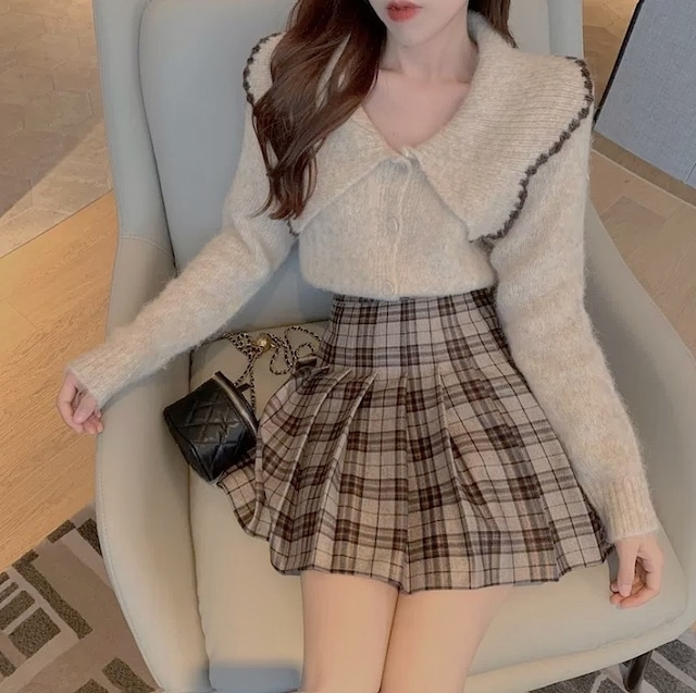 simple collar knit tops 2color