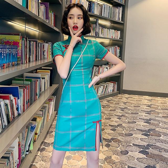 チャイナ風ドレス ショート丈ワンピース 気質良い スリム 通勤 普段着 女子会 同窓会 プレゼント パーティー 大きいサイズ M L LL 3L 4L レトロ スタンドネック 半袖 スリット チェック柄 ブルー 青い