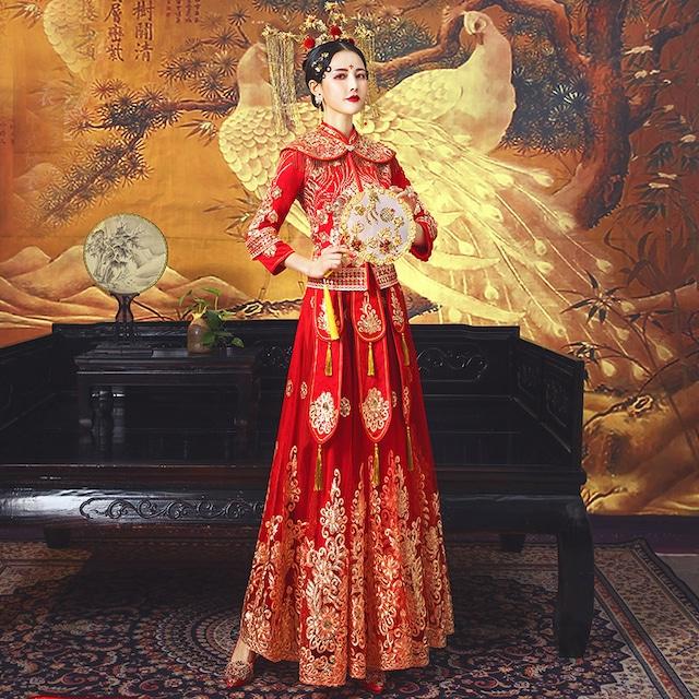 チャイナ風ウエディングドレス 演出服 結婚ドレス XS~4L レッド 赤い 長袖 刺繍 フリンジ サテン