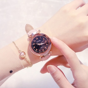 人気上昇中 星空 おしゃれ シンプル レザーベルト 合わせやすい レディース 腕時計 <ins-2085>