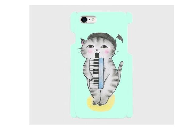 (iPhone用)ピアニカ猫のスマホケース