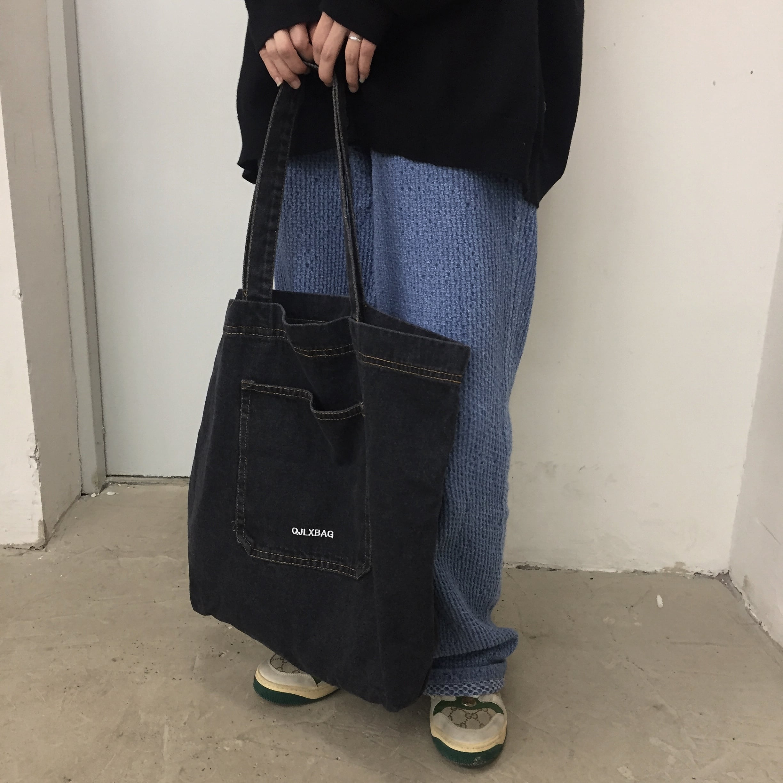 ブラックデニムトートバッグ YH3589