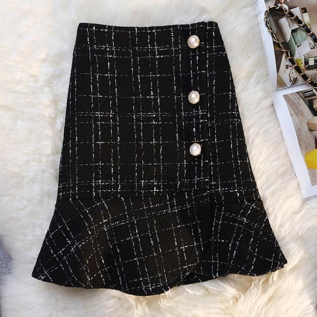 パール ツイード ショート スカート【R1286】