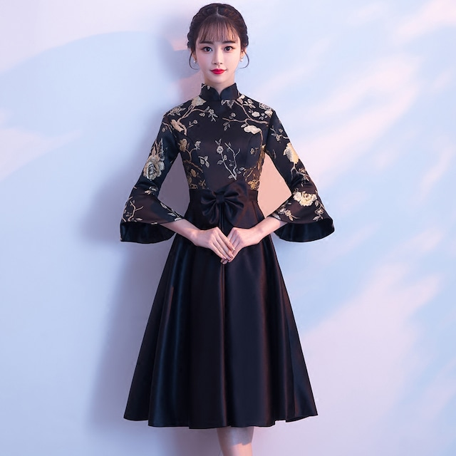 チャイナドレス ロング丈 ドレス ワンピース ブラック 黒い 刺繍入り スピーカースリーブ スタンドネック 二次会 パーディー 大きいサイズ SS S M L LL 3L