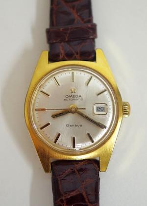 OMEGA オメガ ジュネーブ オートマチック ホワイト 革ベルト 腕時計 レディース