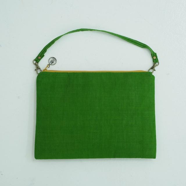 インド 緑綿ポーチ
