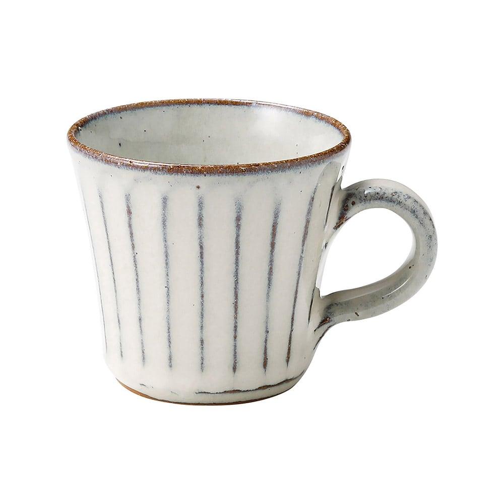 信楽焼 へちもん デミタス カップ 約200ml 白釉彫 MR-3-3322