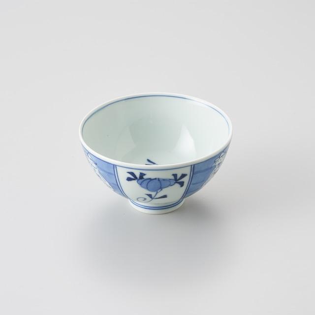 """【青花】""""クラシック異人"""" 3.5寸丸飯碗(割マント異人)"""