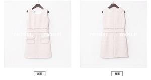 【再入荷】White×Pink ポケット付きツイードワンピース