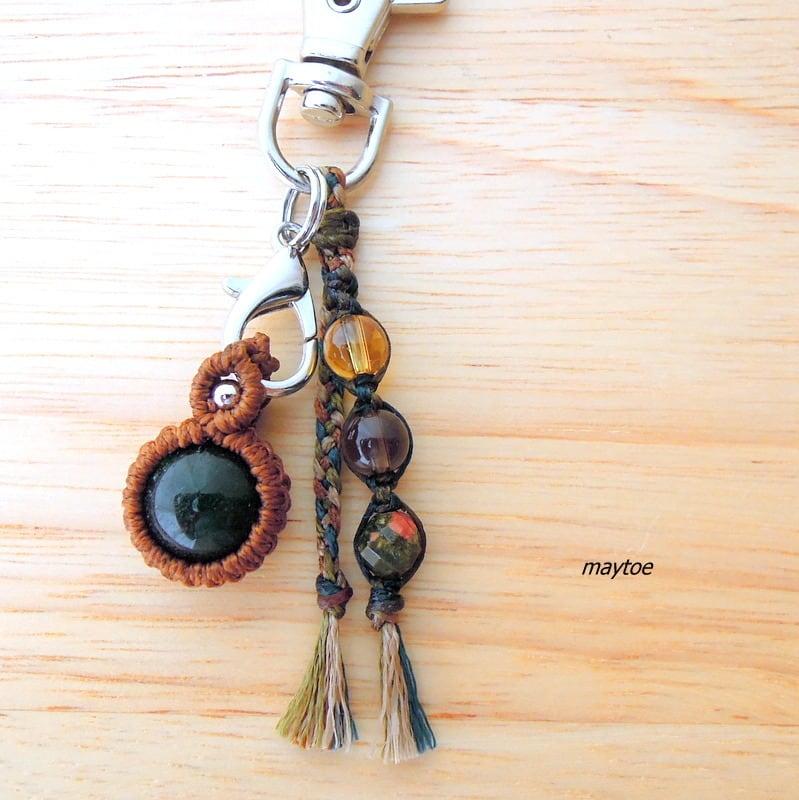 - 癒しの石 -アベンチュリンのお守り -財布やポーチにしまえるお守り石キーホルダー-