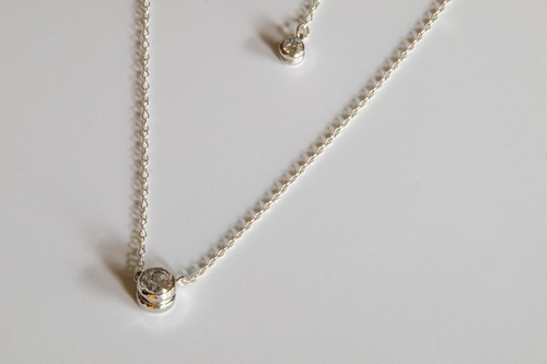 Ball-end necklace(Brass/WhiteCZ)