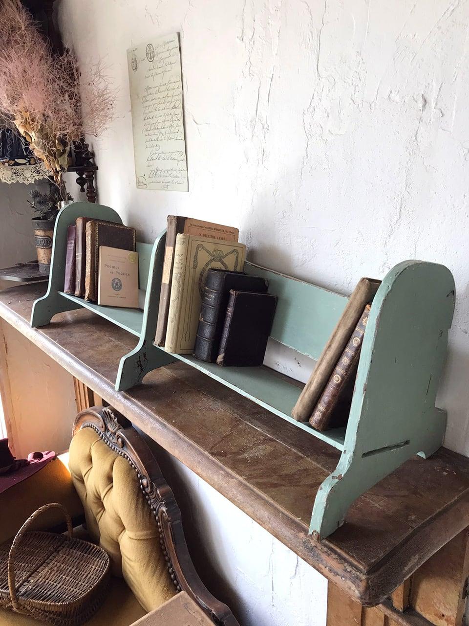 アイスグリーン 木製ブックスタンド 本棚