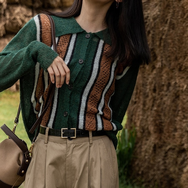 Polo collar stripe cardigan(ポロカラーストライプカーディガン)b-455