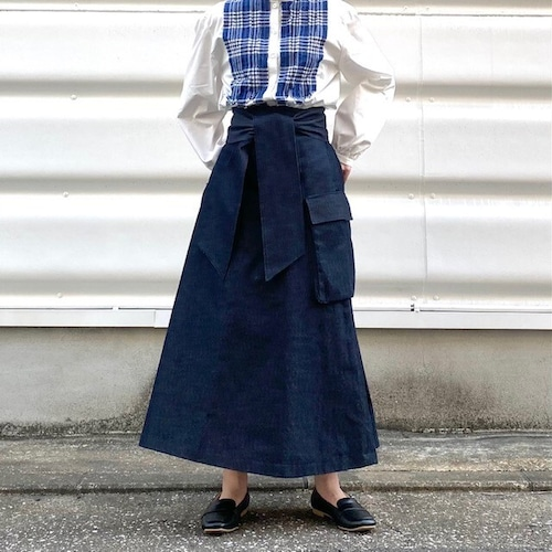 denim big string skirt