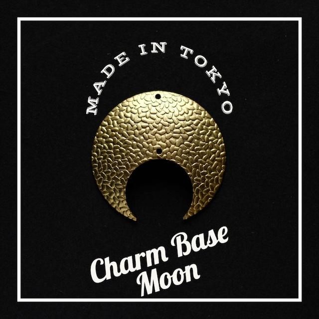 【1個】チャーム・ベース 三日月A(2穴)砂利模様(日本製、真鍮、無垢)