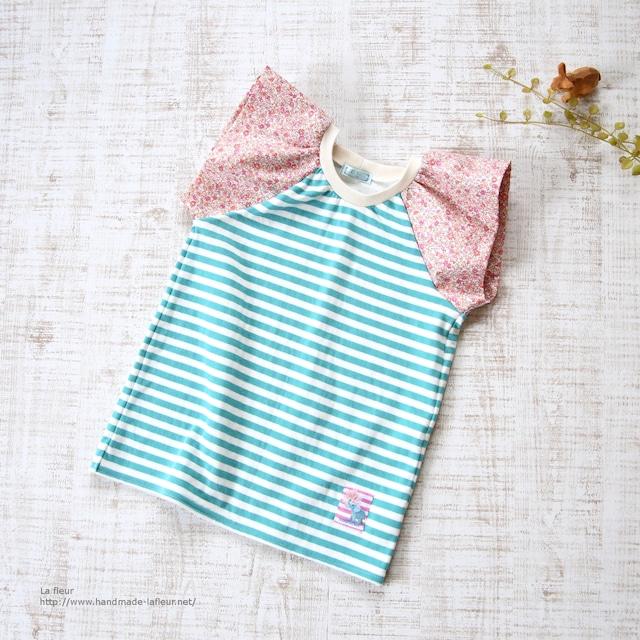 【110】ラップルカットソー*Tシャツ グリーンボーダー×ピンク小花柄/Lafleur