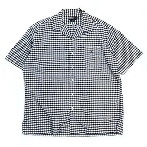 【USED】 POLO RalphLauren ラルフローレン オープンカラー 開襟 ギンガムチェック ボックス シャツ 半袖 ネイビー