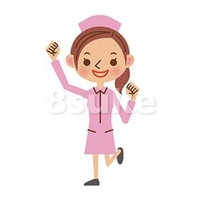イラスト素材:ガッツポーズをする看護師/ナース(ベクター・JPG)