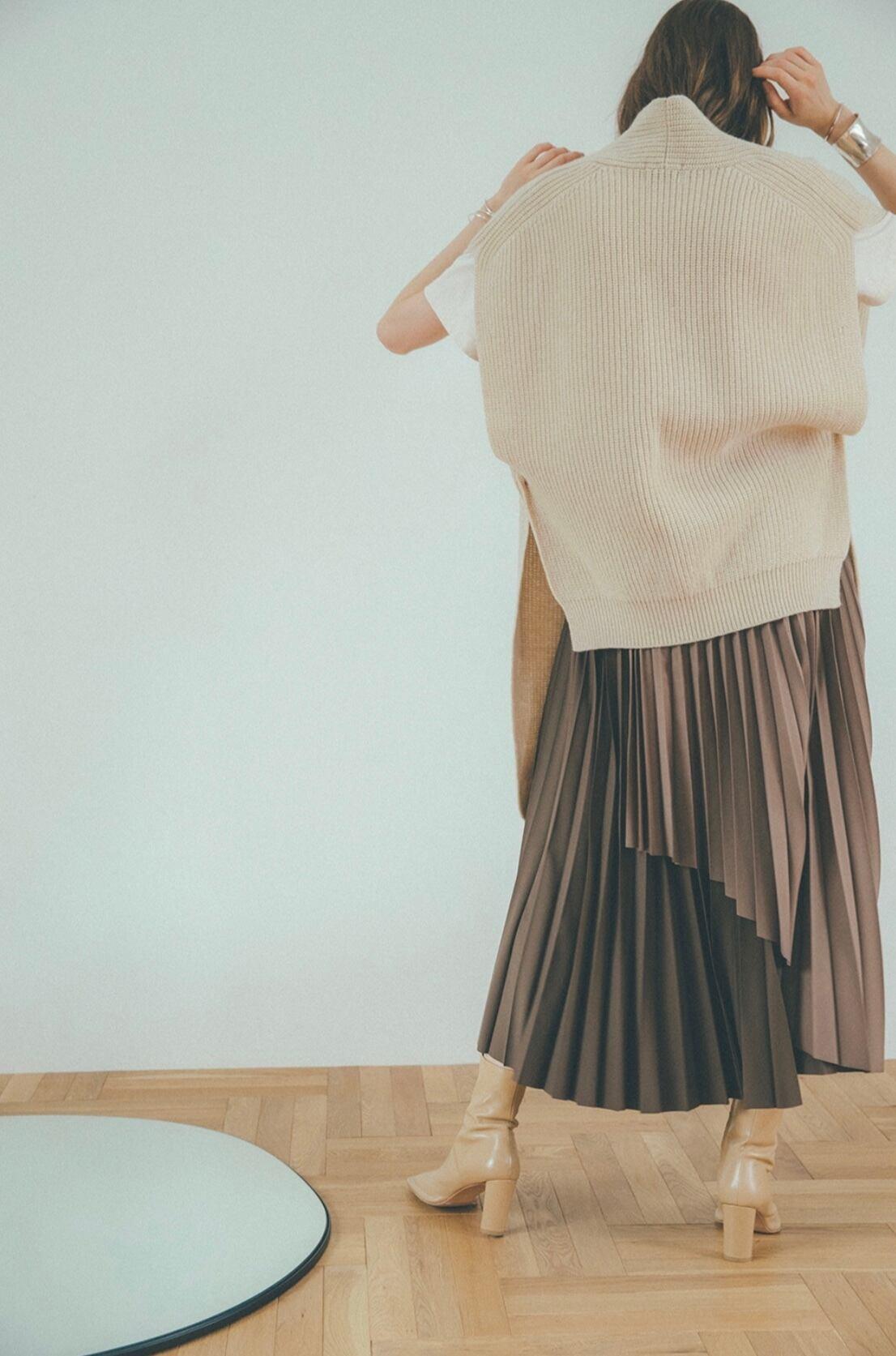 CLANE オーバーラッププリーツスカート
