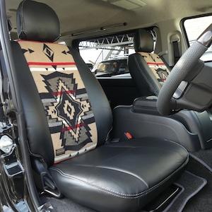 ハイエースバン 200系 S-GL用 ペンドルトンコラボシートカバー F&Rセット 【ブラックレザー×オーバーオール】