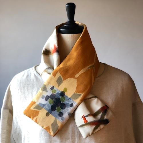 銘仙×コットン刺繍の小さな襟巻き2015/八月のうさぎ 着物 古布 リメイク ストール プチマフラー ネックウォーマー