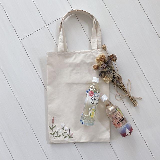 花刺繍のエコバッグ【内ポケット付き】