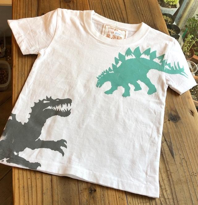 受注制作 kidsTシャツ「スピノサウルス・ステゴサウルス」 100~140対応