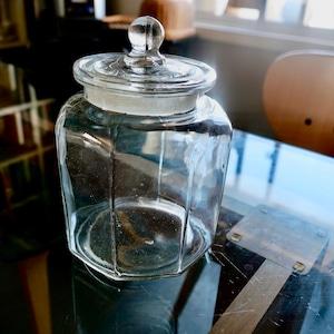【30955】八角形のガラスの大瓶  S/ 昭和 /  Glass Jar / Showa