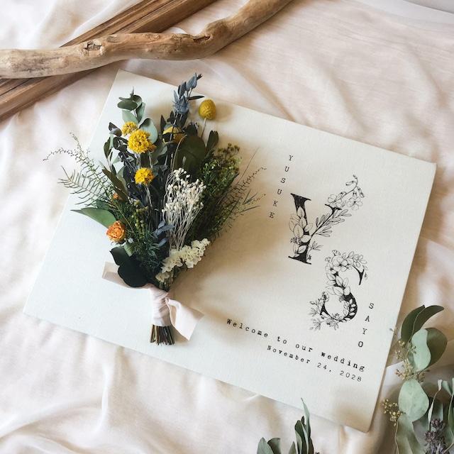 フラワーウェルカムボード イニシャル <グリーン&イエロー> │結婚式