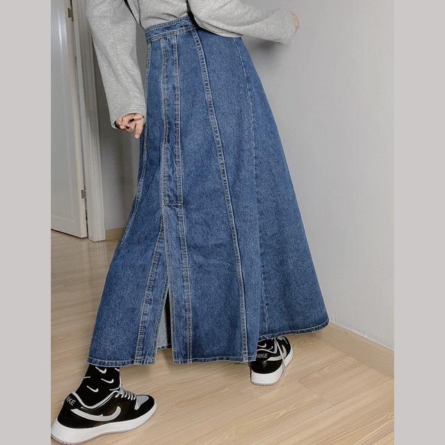 ヴィンテージライク2wayロングデニムスカート 2colors