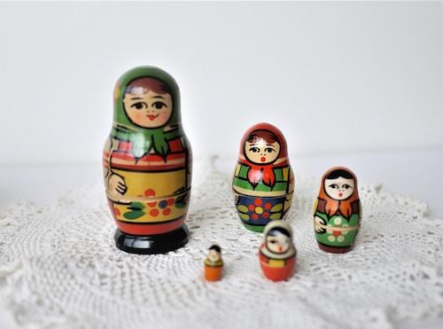 古いマトリョーシカ 5人 セルギエフ ロシア 9㎝ 難あり