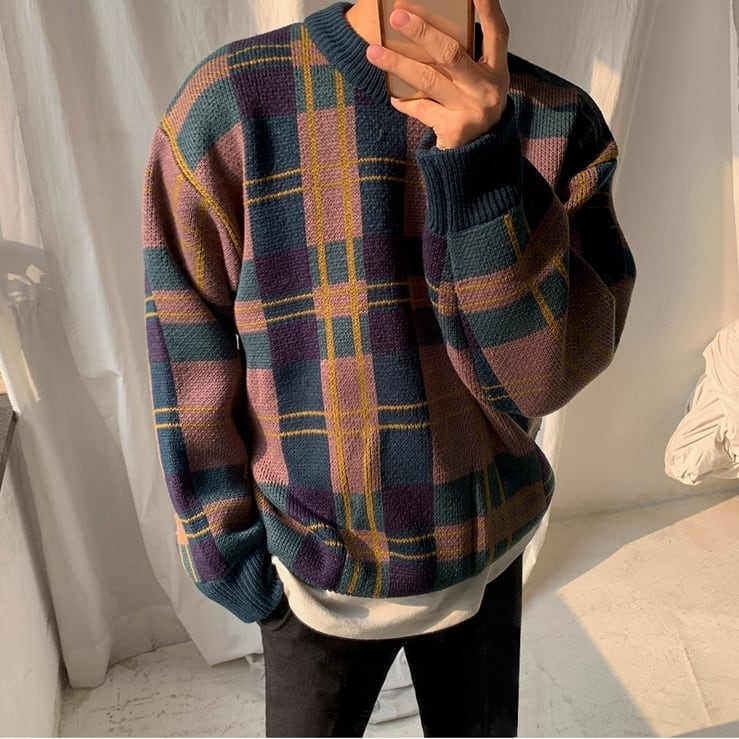 Lazy style check sweater   a-434