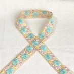 インド刺繍リボン 星花 ブルー ins-0065