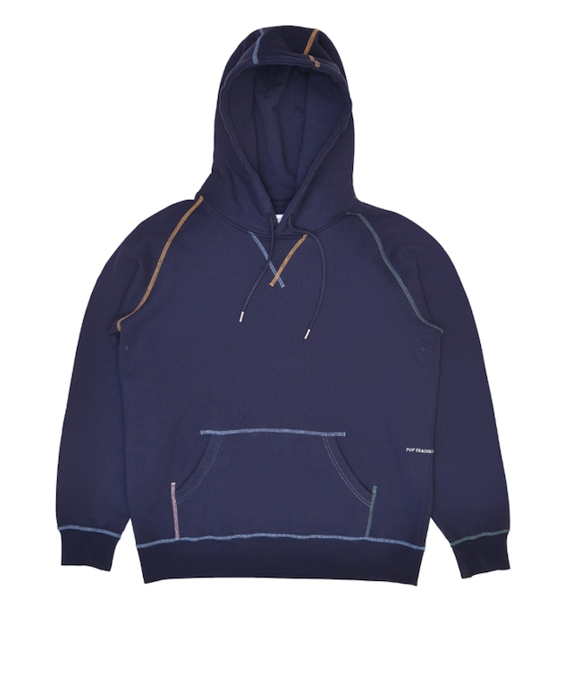 POP TRADING COMPANY STITCHED LOGO HOODED SWEAT NAVY