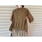 【RehersalL】2way grandpa shirt(brown) /【リハーズオール】2wayグランパシャツ(ブラウン)