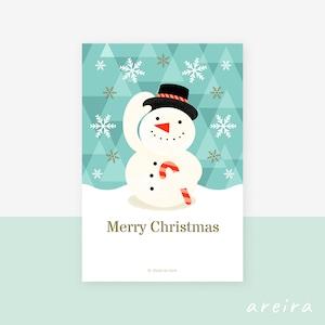 【クリスマスカード】雪と笑顔のスノーマンのイラスト