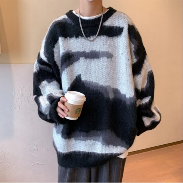 【メンズファッション】絶対流行カジュアル配色絞り染めラウンドネックメンズニットセーター53914944