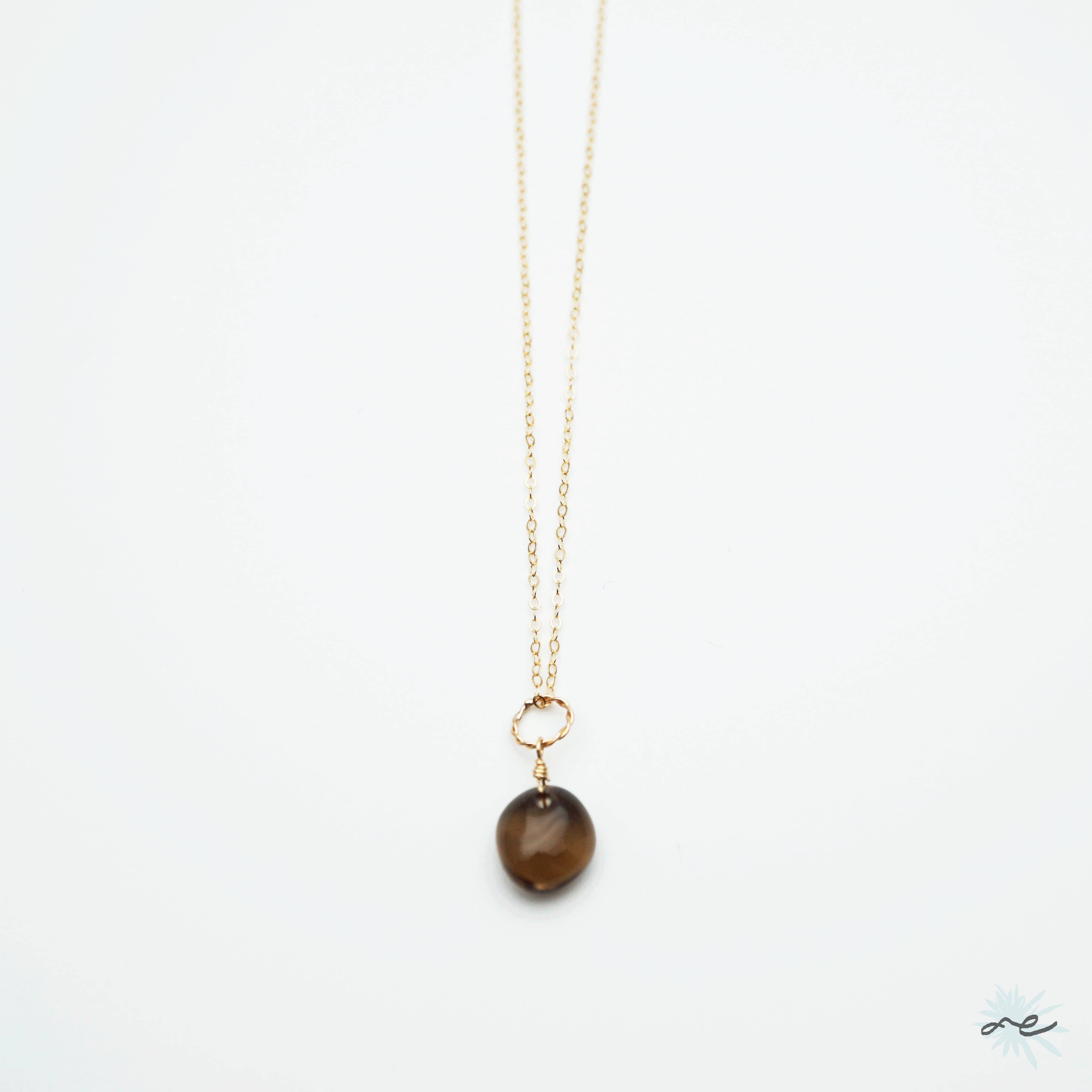 Smoky quartz Necklace/K14 gf