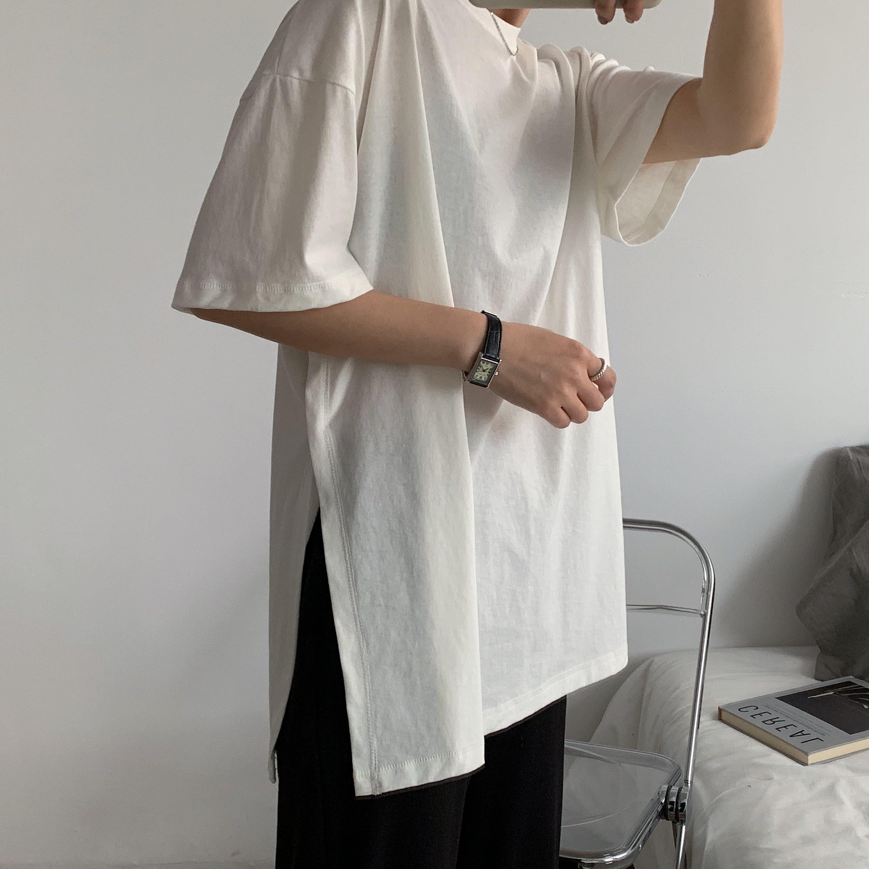 Side slit cotton T-shirt(サイドスリットコットンTシャツ)b-148