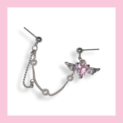 【お取り寄せ】ピンクハートエンジェル イヤリング or ピアス