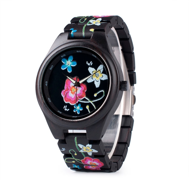 BOBOBIRD 木製時計BOBOBIRD黒花柄 ユニセックス