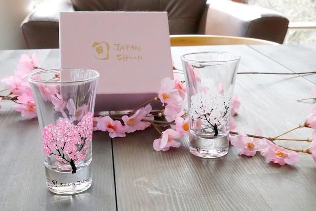 【cs-03s】『冷感桜』『グラス天開ペアセット』 * 春 桜 グラス 花見 ペアセット 贈り物 温度変化 日本酒 乾杯 記念 ギフト プレゼント お祝い