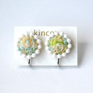kincot 色糸 小さなまるイヤリング(ビーズ×イエローミックス)